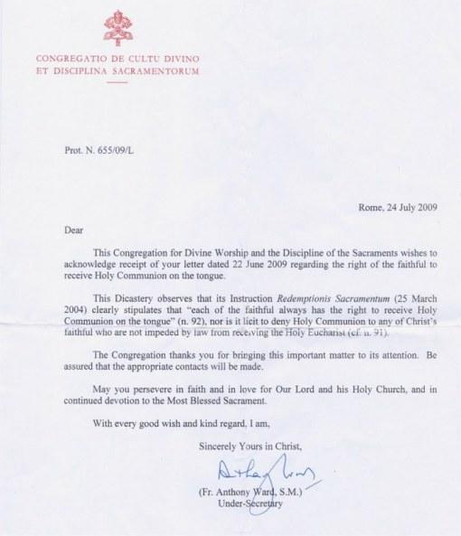 Carta da Congregação para o Culto Divino