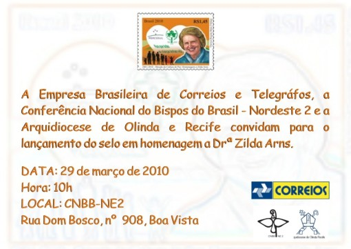 Convite: lançamento do selo Zilda Arns